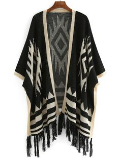 Shop Geometric Print Fringes Black Cardigan at ROMWE, discover more fashion styles online. Fringe Cardigan, Short Sleeve Cardigan, Black Cardigan, Black Short Sleeve Tops, Black Tops, Cocoon Cardigan, Cardigan Sweaters, Embellished Top, My Style