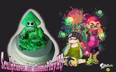 Nintendo Splatoon Figurine Collectable Green Squid Form Sculpture Hand Made