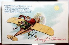 Santa Flying old airplane with Toys Vintage Postcard Circa 1912 ~See it