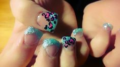 Valentines Heart Leopard Print Nails