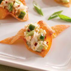 Lump crabmeat's delicate flavor provides a nice balance to crispy wonton chips.