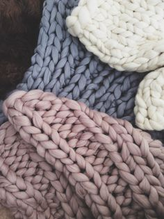 Ive done ALOT of knitting lately for wonderful customer orders. I love making the super chunky knit throws in these colours and seeing them altogether. They are so tactile and lush I want to curl up in them and drink tea all day...