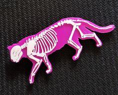 Cat Skeleton Halloween Creepy Kawaii 3D Printed Brooch (15.00 USD) by CarryTheWhat