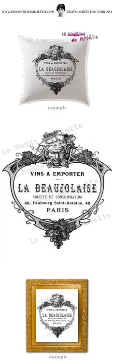 La Beaujolaise  wine grapes vintage large image paris france flower transfer fabric gift tag burlap label napkins burlap pillow Sheet n.179. $1.00, via Etsy.