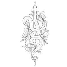 Drew a flowery snek 🐍🌸 12 Tattoos, Girly Tattoos, Mini Tattoos, Forearm Tattoos, Body Art Tattoos, Tattoo Drawings, Small Tattoos, Tattos, Flower Outline Tattoo