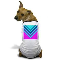 Pink & Aqua Chevron Dog T-Shirt on CafePress.com