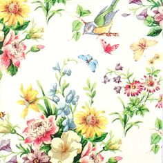 4 Single Lunch Party Paper Napkins for Decoupage Decopatch Craft English Garden
