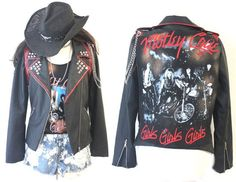 Motley Crue studded Bleached painted destroyed Distressed Hard Rock Jacket for final concert in Los angeles 2