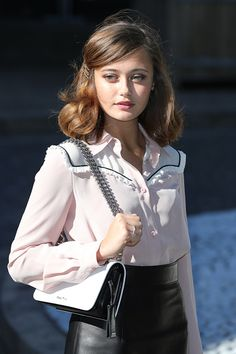 Ella Purnell attended the Miu Miu show as part of the Paris Fashion Week Womenswear Spring/Summer 2017 today (October 5, 2016)