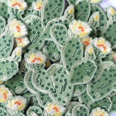 "Inspired by vintage wallpaper in our grandma's house, this cactus patch is a unique way to dress up any outfit. • 5"" Embroidered Patch • Iron-on Backing"