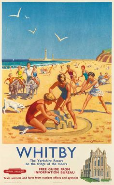 YORKSHIRE Whitby, Resort on the fringe of the moors - 1956 - (Lance Cattermole) Posters Uk, Train Posters, Railway Posters, Poster Prints, 1950s Posters, Art Print, Giclee Print, British Travel, British Seaside