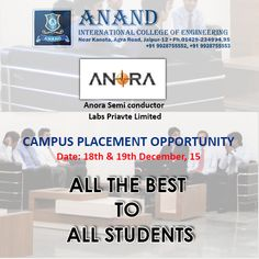 On 18th & 19th December, Anora Semi conductor Labs Private limited comes to give a campus #placement opportunity. All the best to all students.