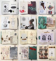 my moleskine by Anna Rusakova, via Behance Great sketchbook inspiration. Moleskine Sketchbook, Arte Sketchbook, Sketchbook Pages, Sketchbook Ideas, Drawn Art, Visual Diary, Sketchbook Inspiration, Grafik Design, Collages