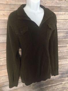BANANA REPUBLIC Men's Sweater Size XL Brown Long Sleeve Collar V-Neck Winter #BananaRepublic #VNeck #ebay