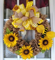 Spring Wreath, Sunflowers Welcome Burlap Wreath, Spring Summer Wreath, Burlap Door Wreath, Door Wreath, Spring Door Wreath, Flowers Wreath