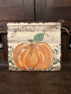 Orange pumpkin, hand painted farmhouse style pumpkin on distressed standalone wood board, fall pumpkin decor, farmhouse decor Pumpkin Canvas Painting, Autumn Painting, Autumn Art, Painting On Wood, Fall Paintings, Pumpkin Painting Party, Painting Holidays, Wood Paintings, Textured Painting