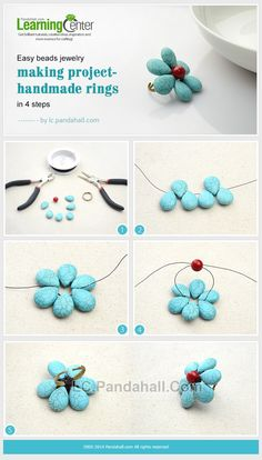 Easy Craft Design – How to Make a Turquoise Beaded Flower Ring for Summer in 10 Minutes