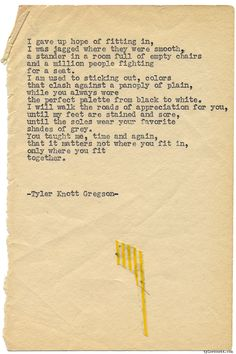 Typewriter Series #1286 by Tyler Knott Gregson*Pre-Order my New book All The Words Are Yours, through Amazon, Barnes and Noble, IndieBound , Books-A-Million , or iBookstore! *