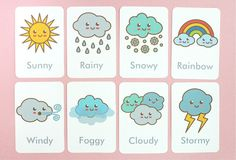 Resultado de imagen para the weather for kids flashcards Preschool Learning Activities, Free Preschool, Preschool Classroom, Preschool Worksheets, In Kindergarten, Kindergarten Vocabulary, Flashcards For Toddlers, Learning Games, Preschool Weather Chart