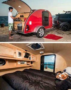 Teardrop trailer interior ideas 12 - Savvy Ways About Things Can Teach Us Teardrop Trailer Interior, Teardrop Camping, Teardrop Camper Trailer, Airstream Interior, Auto Camping, Minivan Camping, Beach Camping, Camping Outdoors, Camping Tips