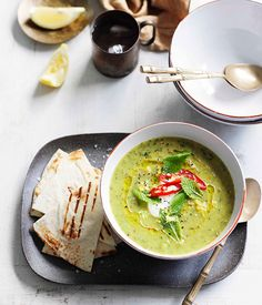 Australian Gourmet Traveller recipe for zucchini and mint soup with grilled flatbread.