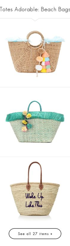 """""""Totes Adorable: Beach Bags"""" by polyvore-editorial ❤ liked on Polyvore featuring BeachBags, bags, handbags, jadetribe bags, tassel bag, fringe tassel bag, jadetribe, fringe bag, tote bags and beige"""