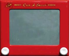 Etch-A-Sketch...I Went Through 2 OF These As A Child My Dad Would Draw Intracate Christmas Scenes Or Other Scenrs On Them, The 2nd One I Still Have Somewhere I Even Met The Guy Who Ran The Ohio Arts Compay In The 70's And Early 80's He Had A Home On Sea Island In Georgia   Where I Would Frequently Visit My Grandmother