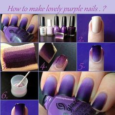 Nails sencillas degrade 27 Ideas for 2019 Purple Ombre Nails, Gradient Nails, Diy Nail Designs, Simple Nail Designs, Cute Nails, Pretty Nails, Summer Toe Nails, Beauty Nails, Hair And Nails
