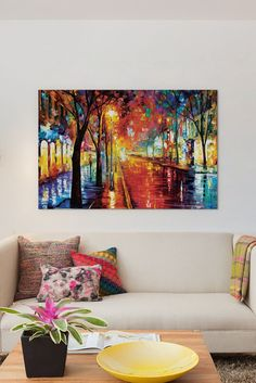 Image of  Street Of The Old Town by Leonid Afremov Canvas Print