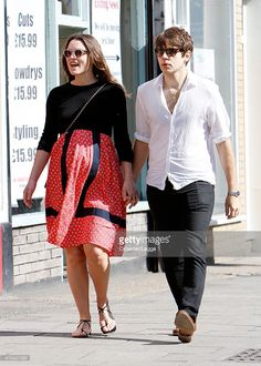Pregnant British Actress Keira Knightly takes a stroll with her husband James Righton on April 15, 2015 in London, England.