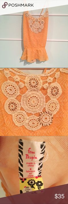 Free People Crochet Top Orange chiffon Free People top with sewn detailing on the chest. Free People Tops