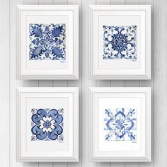 Talavera Tile Wall Art, Azulejo Portuguese Tile Art, Mexican Tile, Tile Art Print, Pattern Tile Art, Set Of Four by shelbydillon on Etsy https://www.etsy.com/ca/listing/476380369/talavera-tile-wall-art-azulejo