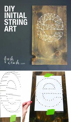 How to make easy affordable string wall art. A few simple supplies creates gorgeous monogram art, perfect for weddings and baby shower gifts. Initial String Art video tutorial from www.freshcrush.com