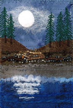 Kirsten's Fabric Art  Postcard - Moonlight