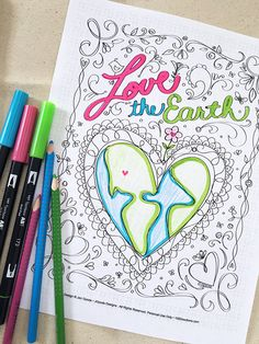 Earth Day Coloring Page - Love the Earth designed by Jen Goode Earth Day Activities, Art Therapy Activities, Art Activities For Kids, Art For Kids, Science Activities, Kids Crafts, Earth Day Coloring Pages, Love Coloring Pages, Printable Coloring Pages