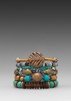 VANESSA MOONEY Misty Mountain Bracelet Stack in Brass Multi - Boho