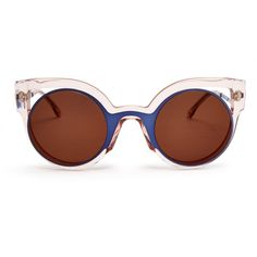 Fendi Bi-colour round-framed sunglasses featuring polyvore, women's fashion, accessories, eyewear, sunglasses, glasses, óculos, clear, clear glasses, fendi sunglasses, round sunglasses, round eyewear and over sized sunglasses