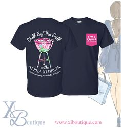 Alpha Xi Delta Chill by the Grill t-shirt! This is a custom order from Xi Boutique. Email custom@xiboutique.com to create your own custom shirt for an event.