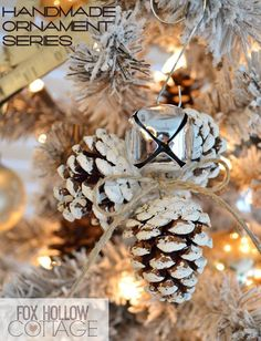 Homemade Jingle Bell Pinecone Ornament by Shannon at Fox Hollow Cottage | Handmade Ornament No. 20