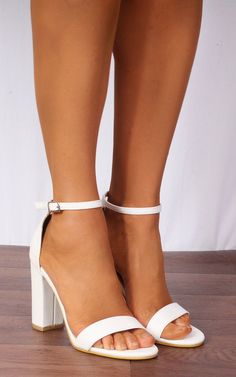 e7b416ad30 White Barely There Ankle Strap Strappy Sandals High Heels By Shoe Closet
