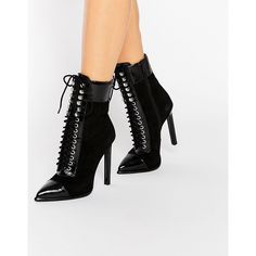 Jeffrey Campbell Elphie Point Lace Up Suede Heeled Ankle Boots ($175) ❤ liked on Polyvore featuring shoes, boots, ankle booties, black, pointed toe booties, black high heel booties, high heel booties, black boots and pointy toe booties