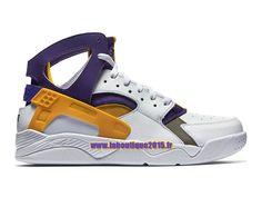Officiel Nike Air Flight Huarache - Chaussure de Nike Basket-ball Pour Homme Blanc/Violet basket-ball/Or université 705005-101
