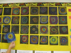 "Kandinsky Circles! This project is a great class project or group project for elementary art. Inspired by Vasily Kandinsky's art work ""Color Study - Squares and Concentric Circles"" the students choose their 3-5 colors and with colored pencil on white squares,  or oil pastel on black squares as shown in this photo, create their own color study of concentric circles."