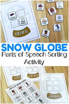 Teach children how to identify basic nouns, verbs, and adjectives with this winter-themed parts of speech sorting activity! Perfect for ELA over the winter! #learning #education #ela #homeschooling #homeschool #grammar #winter #kidsactivities