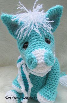 Cute Horse Crochet Pattern, PDF Format by Teri Crews Designs.