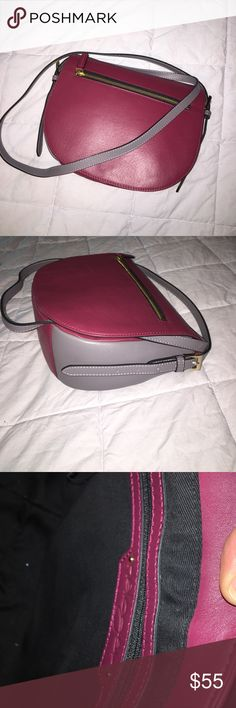 """Halogen Crossbody! Super trendy leather colorblock Crossbody. New with tags- never used! Grey and maroon colored- measurements are W 10"""" x L 9"""". Strap is adjustable- at the longest the drop is about 27"""",shortest is -about 23"""". z#0412 Halogen Bags Crossbody Bags"""
