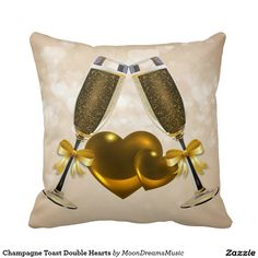 #ChampagneToast #DoubleHearts #ThrowPillow by #MoonDreamsMusic #ValentinesDayDecor