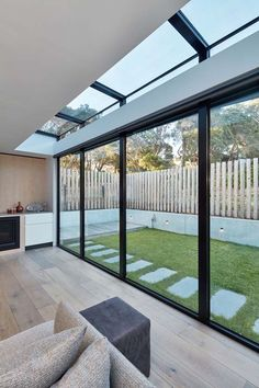 This modern beach house on the Mornington Peninsula retained a small proportion of the rear of the existing building and expanded forward on a steeply sloped site. House Extension Design, Glass Extension, Extension Designs, House Design, Garden Room Extensions, House Extensions, Small Beach Houses, Glass House, Beach House Decor
