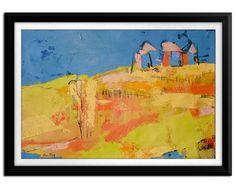 "Abstract Oil Painting Navy Blue Sky Canvas Art Original Landscape Oil Painting Canvas Artwork Modern Art 14x18"" Gift Idea"