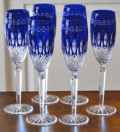 6 Waterford Crystal Clarendon Champagne Flutes Glasses New Cobalt Blue | eBay
